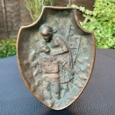 Early Antique Bronze Ashtray Card Holder Tray Mourning Scene Grieving Woman