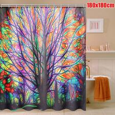 Shower Curtain 1.8M Colorful Tree Leaves Waterproof Polyester Bathroom + 12 Hook