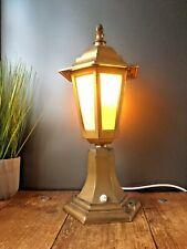 LOVELY LARGE GOLD METAL LANTERN DESK LAMP VINTAGE VICTORIAN STYLE STREET LIGHT
