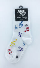 Kids Music Note Theme Socks, White socks with multicolor music notes and symbols