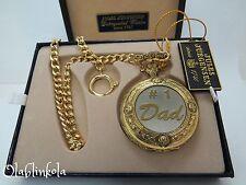 Jules Jurgensen Gold Tone pocket watch, Number One Dad, Brand New w/ Box