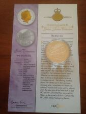 2002 Gold Silver Proof 1oz $5 Five Dollar Coin. Queens Jubilee State Trumpeters