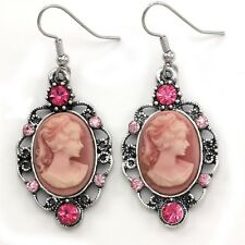 Classic Antique Vintage Style Retro Design Light Pink Cameo Dangle Earrings o1