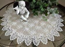 """Lace Doily 35"""" Table Topper Neutral Burlap Tablecloth Taupe Antique Victorian"""