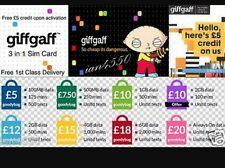 Giffgaff gifgaf Nano/Micro/Standard 3 in 1 SIM FREE £5 Credit Unlimited Data