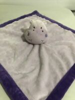 "Tiddliwinks Purple Hippo Lovey Baby Security Blanket Lavender Velour 13"" X 13"""