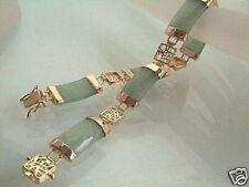 Natural Light Green Jade 18KGP Fortune Clasp Link Bracelet Bangle