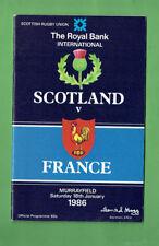 #Bb. 1986 Scotland v France Rugby Union Program