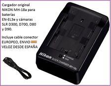 CARGADOR ORIGINAL NIKON D700 D80 D90 D300 D300S D50 D100 BATERIA EN-EL3e MH-18a