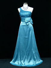 Cherlone Blue One Shoulder Ballgown Wedding Evening Bridesmaid Formal Dress 12
