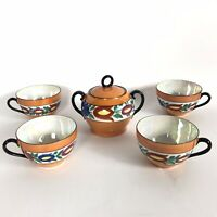 Vintage Victoria China Czecho-Slovakia 4 Tea Cups & Sugar Bowl Orange Lusterware