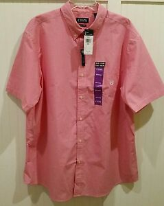Chaps Men's Shirt Button Red/White Check XXL/2XL NWT MSRP $50 LAST ONE