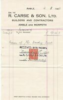 R. Carse & Son Ltd. Amble and Morpeth 1945 Builders/Cont Stamp Receipt Ref 38161
