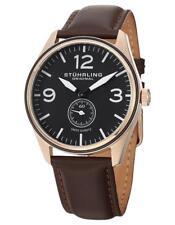 Stuhrling Aviator Men's 42mm Brown Calfskin Stainless Steel Case Watch 931.03