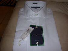 TOMMY HILFIGER MEN'S WHITE DRESS SHIRT 16-16 1/2-32/33 SLIM FIT $69 NEW W/ TAGS