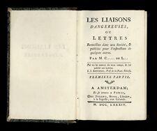 ❤️  de Laclos Les Liaisons dangereuses 4 parties en 2 vol Rare. Valmont