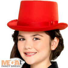 Red Top Hat Kids Fancy Dress Showtime Girls Boys Childrens Costume Acccessory