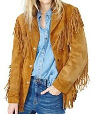Ladies Jacket Western Suede Leather Cow-Lady Native American Women Fringe coats