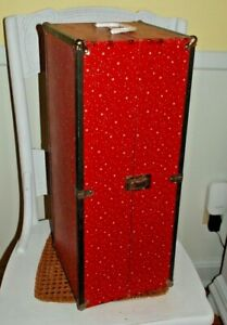 """Vintage Mid-Century Doll 21"""" Trunk Wardrobe Storage Carrying Case with Handle"""