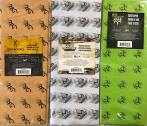 """Realtree Browning Bone Collector Tissue Paper Birthday Present Gift Wrap 20x26"""""""