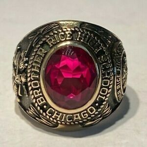 Vintage 1971 BROTHER RICE HIGH SCHOOL 10k Yellow Gold Red Stone Class Ring 11.7G