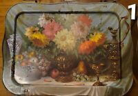 4 Vintage Metal TV Tray Tables Floral Still Life Painting Grapes Fruit MCM