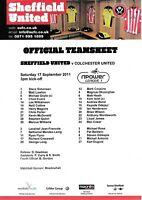 Teamsheet - Sheffield United v Colchester United 2011/12 (17 Sep)