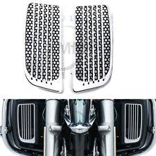 Pair Chrome Radiator Grills Lower Fairing For Harley Street Road Tri Glide FLHTK