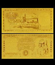 BANCONOTA 50000 LIRE LEONARDO DA VINCI MEDUSA REPLICA ORO 24K FDS