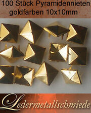 100 Stück Pyramidennieten10x10mm  gold ,Pyramiden Nieten,Ziernieten,Rundnieten