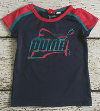 PUMA Girls Blue Red Logo Tee Shirt 5 EUC