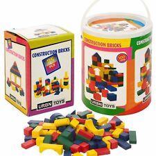 Wooden Construction Building Blocks Bricks Children's Wood Toys Pieces Xmas Gift