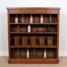 Antique Edwardian Oak Open Bookcase Carved Library Bookshelves Solid