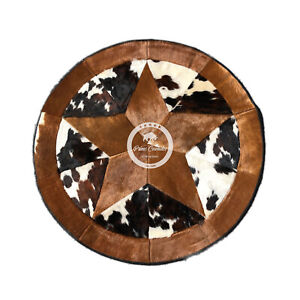 """Round Cowhide Rug Tricolor Single Star 40"""" - 60"""" (3.3 ft - 5 ft)"""