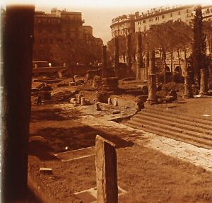 ITALIE Rome Archéologie 1952Photo Stereo Plaque verre Vintage VR23L2n1