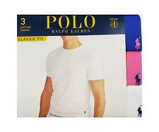 Polo Ralph Lauren Blue-Pink-White Classic Fit Crew-Neck Wicking T-Shirt 3 Pack