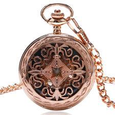 Fashion Flower Pattren Skeleton Black Casual Dial Mechanicla Pocket Watch Chain