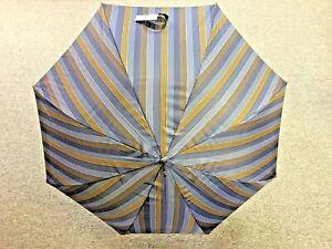 Gian Franco FERRE Milano Blue / Brown Stripe Umbrella - BRAND NEW