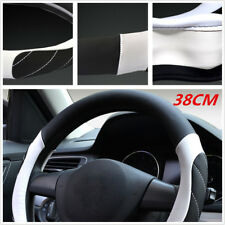 38CM Soft Leather Auto Car Steering Wheel Wrap Cover Black+ White