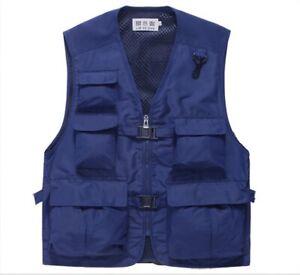 Men's Multi Pocket Cargo Vest Fishing Working Photography Waistcoat Jacket 222