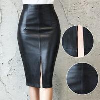 Women PU Pencil Midi High Waist Split Skirt Lady Wet Look Stretch Dress Slim Hot