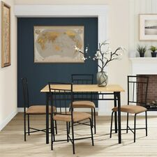 Dining Table Set For 4 Steel Dining Room Chairs Table Kitchen Furniture 5 Pc