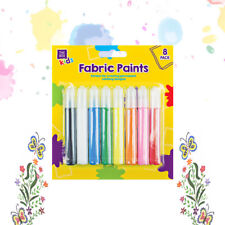 8 Pack of Permanent Fabric Paints - Assorted Water Resistant Bright Colour Tubes