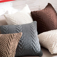 Home Decor Pillow Case Cable Knit Knitted Soft Squar Throw Cushion Covers Cases