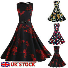 UK Rockabilly 50s Pin Up Cocktail Party Evening Retro Swing Dance Formal Dress