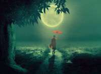 "high quality oil painting handpainted on canvas ""A little monk in the moonlight"""