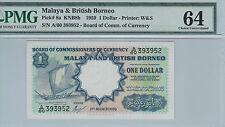 RARE Malaya & British Borneo $1 Original W&S A/60 393952 PMG 64 UNC
