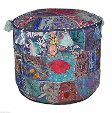 Indian Cotton Embroidered Patchwork Ottoman Comfortable Floor Ethnic Pouf Cover