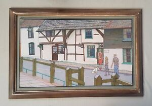 BEN SUNLIGHT 1935-2002 Church St Steyning large original signed oil painting