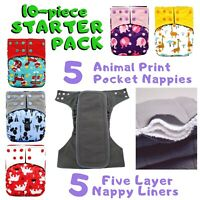 10x POCKET NAPPIES CLOTH DIAPER *STARTER PACK* 5-layer CHARCOAL BAMBOO LINER